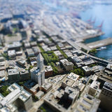 Tilt shift with tall building in Seattle Stock Image