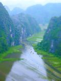 Tilt Shift Of Tam Coc River Stock Photo