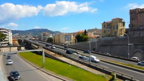 Tilt-Shift Time Lapse Of Highway Traffic On A Bridge. Aerial View Of Cars And Trucks Traffic At Highway Bridge. Tilt-shift Timelapse - HD Video stock footage