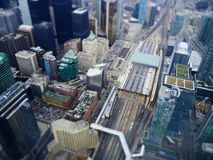 Tilt shift toronto city view stock image