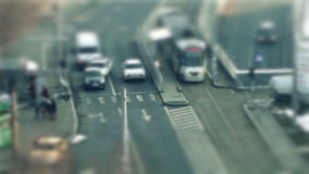 Tilt shift. Traffic in the city, tilt shift and time lapse stock video footage