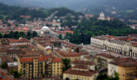 Tilt Shift of Turin. A tilt shift of Turin from the Mole Antonelliana Stock Photo