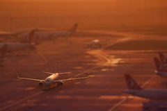 Tilt Shift Turkish Airlines Boeing 737-800 Royalty Free Stock Images