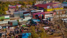 Tilt shift video food market with height stock video