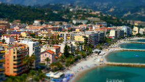 Tilt-shift view of the beach in Menton, France Stock Image
