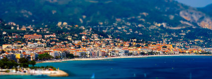 Tilt-shift view of the beach in Menton, France Stock Photo