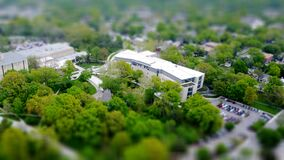 Tilt shift view of buildings Royalty Free Stock Photo
