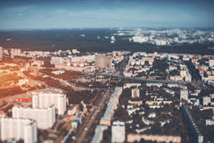 Tilt-shift view of city from very high point Royalty Free Stock Image