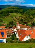 Tilt-shift view of classic french village Stock Photography