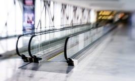 Tilt-shift view of horizontal escalator Royalty Free Stock Images