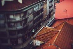Tilt-shift view of Lisbon street Stock Photo