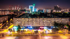 Tilt and shift view of soviet style avenue in Moscow from above Stock Photo