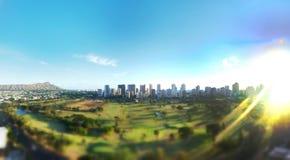 Tilt shift waikiki. Panoramic tilt shift waikiki royalty free stock images