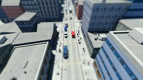 Tilt shift of walking people and traffic in the city. 3D stock video