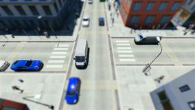 Tilt shift of walking people and traffic in the city. 3D stock footage