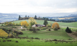 Tilt Shifted Farm Land. House and farm land on rolling hillside. Photographed with specialty tilt-shift lens royalty free stock images