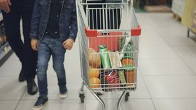 Tilt-up shot of happy young family pushing shopping trolley full of tasty food through supermarket. Child is having fun. Loving parents are smiling and looking stock video