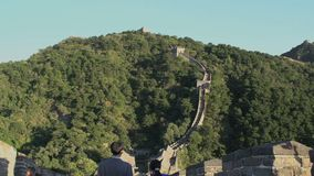 Tilt up to the great wall from the stairs,Mutianyu Great Wall stock footage