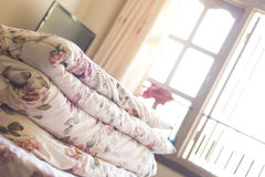 Tilt view of blanket in room Stock Photos