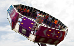 Tilt-a-Whirl at fair. Blurred Tilt-a-whirl Royalty Free Stock Photos