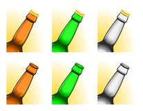 Tilted beer bottle necks. Set of six tilted beer bottle necks, with and without caps. All elements sorted and grouped in layers Royalty Free Stock Photos