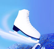Tilted blue version, ice skates with reflection. Stock Image