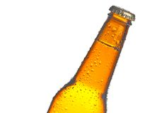 Tilted bottle of fresh beer with drops Stock Image