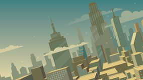 Tilted Cartoon Cityscape. Background with comics city Royalty Free Stock Image