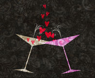 Tilted Champagne or Martini Glasses With Hearts. Two stylized retro martini or champagne glasses tilted toward each other with hearts coming out Stock Photos