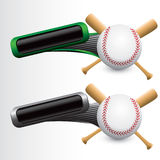Tilted green and gray tabs with baseball and bats. Baseball with bats green and gray tilted banners Stock Photography