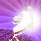 Tilted lilac version, ice skates with reflection. Figure skating. Tilted lilac version, ice skates with reflection Royalty Free Stock Photo