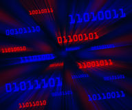 Tilted red and blue bytes of binary code flying Royalty Free Stock Image