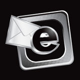 Tilted silver halftone web icon with email letter Royalty Free Stock Images