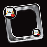 Tilted silver halftone web icon school supplies Stock Images