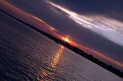 A Tilted Sunset Royalty Free Stock Image