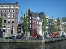 Tilted Town Houses in Amsterdam Royalty Free Stock Photo