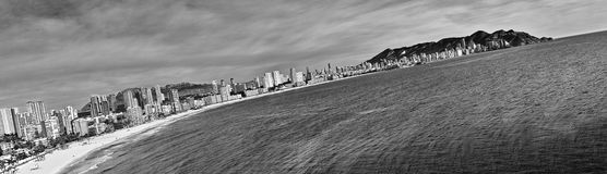 Tilted view of Benidorm's coast. View of Benidorm's coast in Costa Blanca - Spain Royalty Free Stock Photo