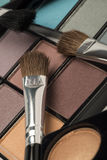Tilted view of eye make up products Stock Photos