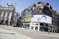 Tilted view of large screen in Piccadilly circus. Royalty Free Stock Photography