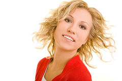 Tilting the head. Blonde woman lets her hair fly stock images