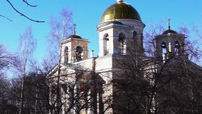 Tilting shot of orthodox church of st. Alexander Nevsky  stock video