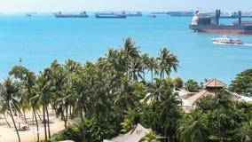 Tilting up view sea horizon big boats ship nautic vessel. stock video