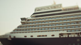 Tiltshift photo of huge ocean cruise ship Royalty Free Stock Images
