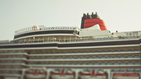 Tiltshift photo of big ocean cruise liner Stock Images