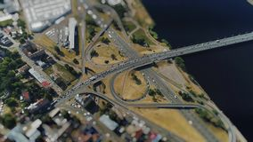 Tiltshift Road cars Traffic Bridge drone Timelapse Viaduct in Riga city Miniature in motion stock video footage