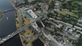 Old Riga city Tiltshift Miniature timelapse Road cars Traffic Bridge drone Timelapse in motion stock video