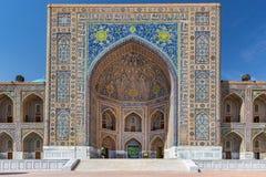 Tilya Kori Madrasah i Samarkand, Uzbekistan Royaltyfri Bild