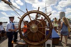 Timón de la emergencia del guardacostas Tall Ship Eagle Imagen de archivo libre de regalías