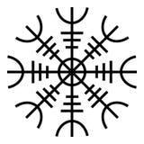 Timón del aegishjalmur del temor o de la imagen plana del estilo del ejemplo del vector del color del negro del icono del egishja stock de ilustración