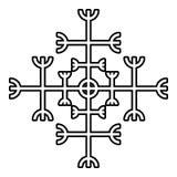 Timón del aegishjalmur del temor o de la imagen plana del estilo del ejemplo del vector del color del negro del icono del galdras libre illustration